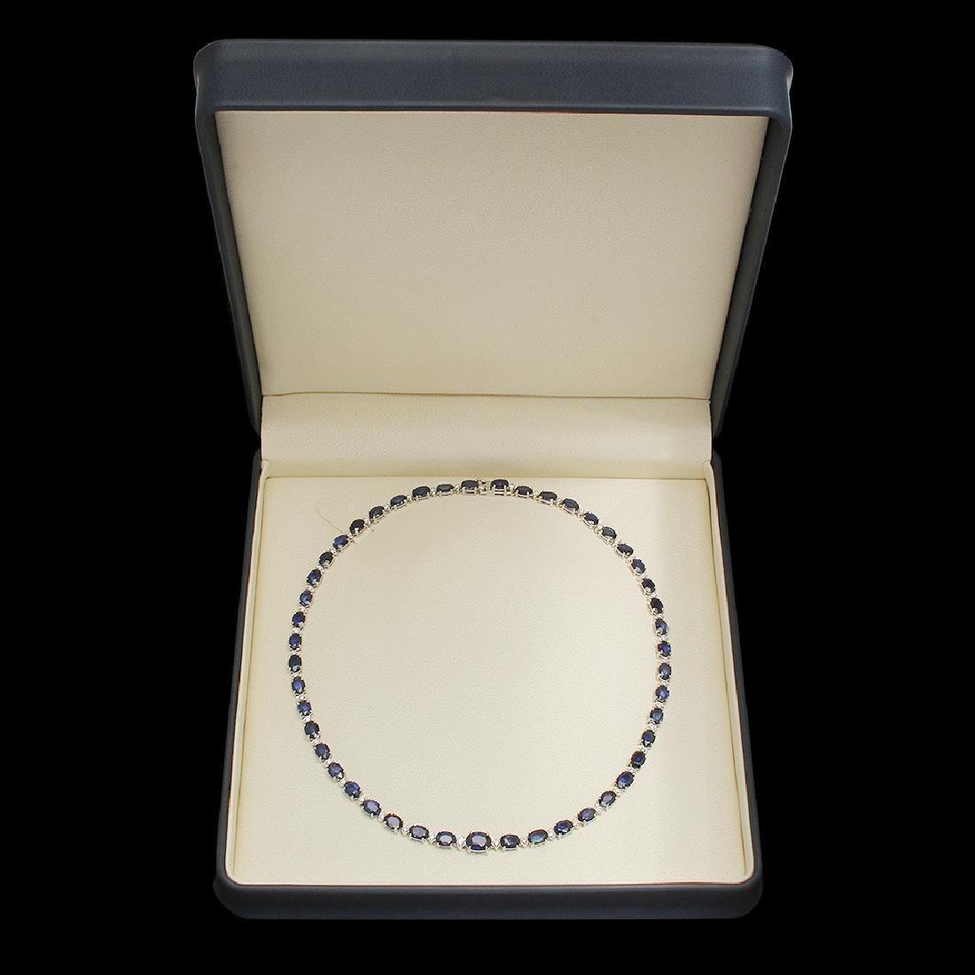 14K Gold 38.53ct Sapphire 1.70ct Diamond Necklace - 4