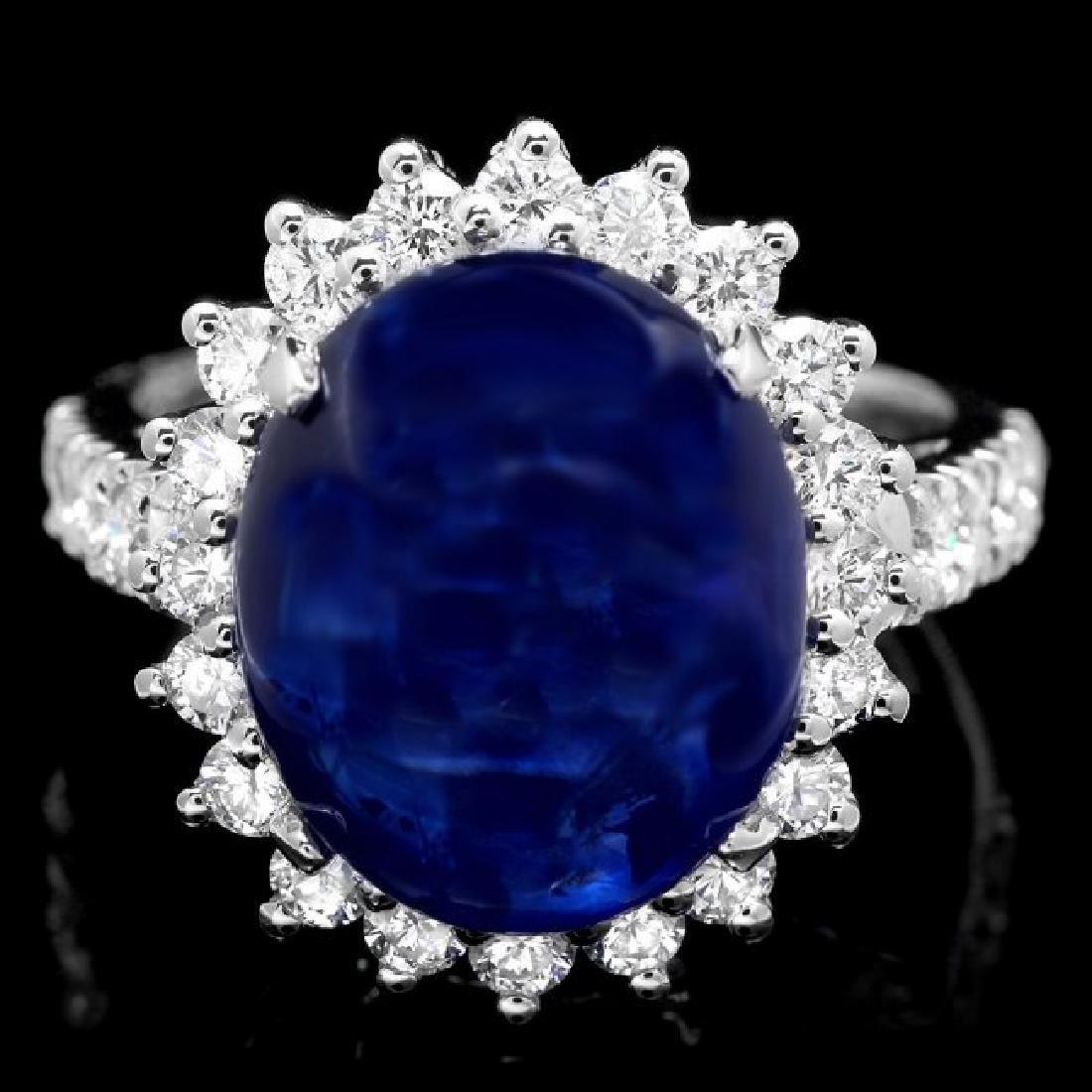 14k Gold 11.50ct Sapphire 1.20ct Diamond Ring