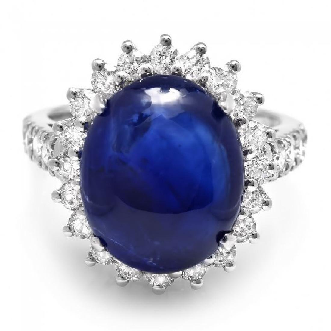 14k Gold 11.50ct Sapphire 1.20ct Diamond Ring - 2