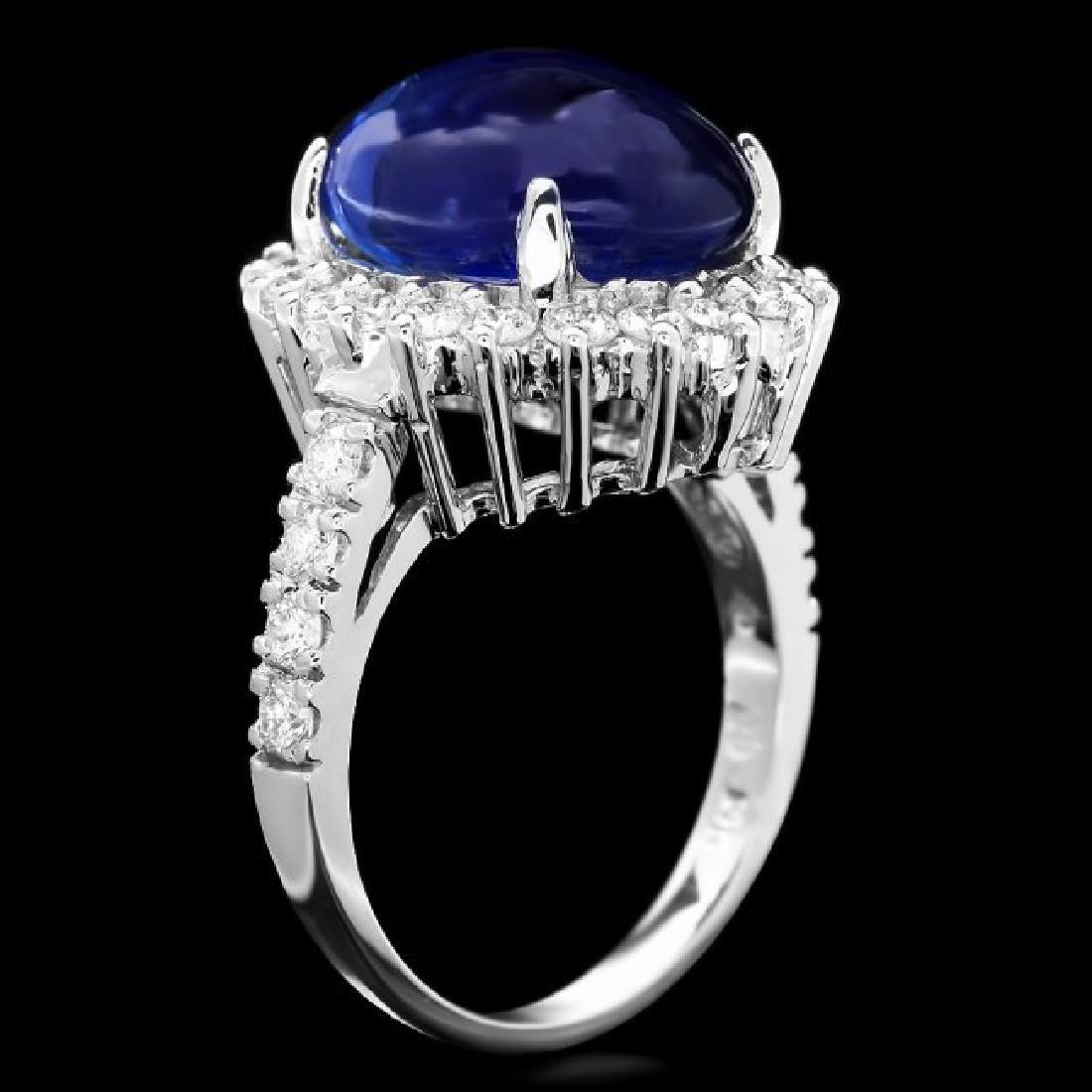 14k Gold 11.50ct Sapphire 1.20ct Diamond Ring - 3