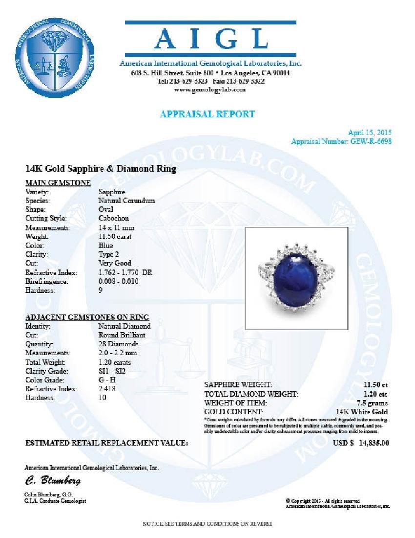 14k Gold 11.50ct Sapphire 1.20ct Diamond Ring - 5
