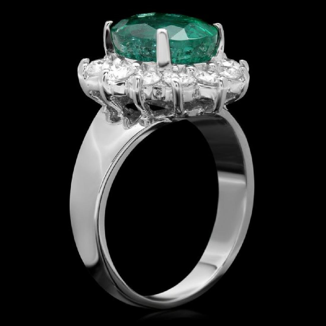 14k White Gold 3.50ct Emerald 1.10ct Diamond Ring - 2