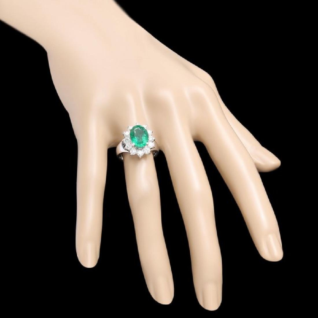 14k White Gold 3.50ct Emerald 1.10ct Diamond Ring - 3