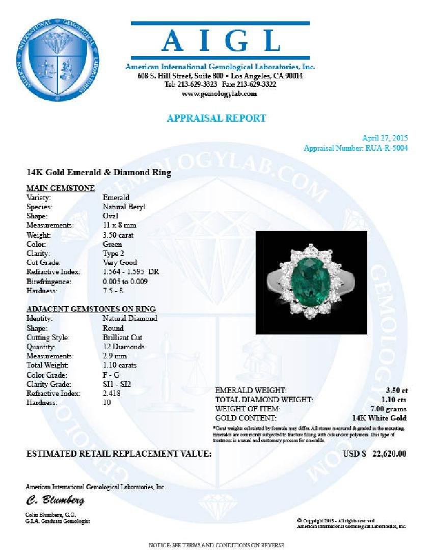 14k White Gold 3.50ct Emerald 1.10ct Diamond Ring - 4