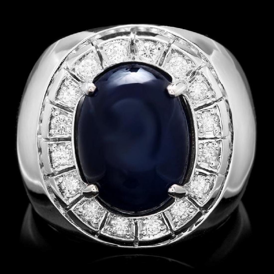 14k 15.50ct Sapphire 0.50ct Diamond Mens Ring