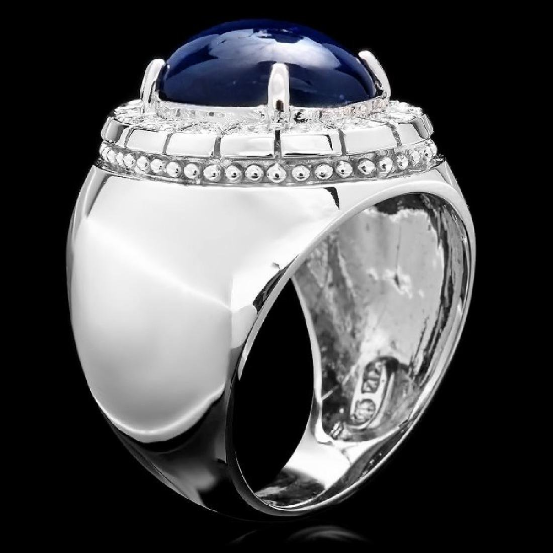 14k 15.50ct Sapphire 0.50ct Diamond Mens Ring - 3