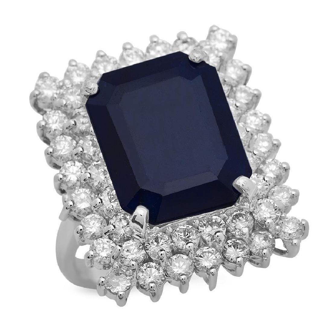 14K Gold 10.40ct Sapphire 2.69ct Diamond Ring