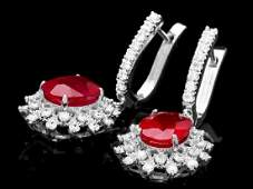 14k White Gold 76ct Ruby 170ct Diamond Earrings