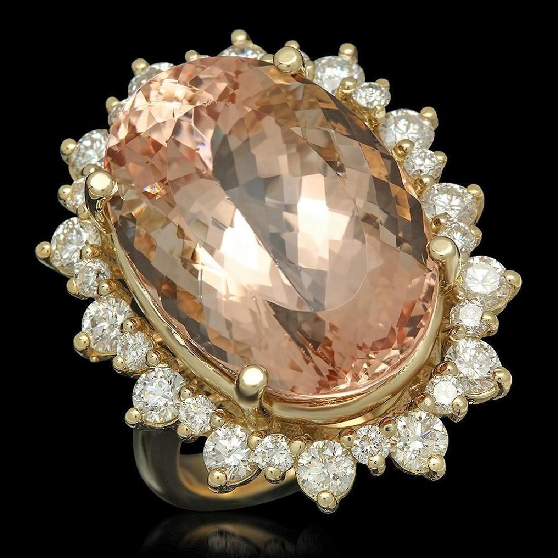 14K Gold 23.03ct Morganite 2.13ct Diamond Ring