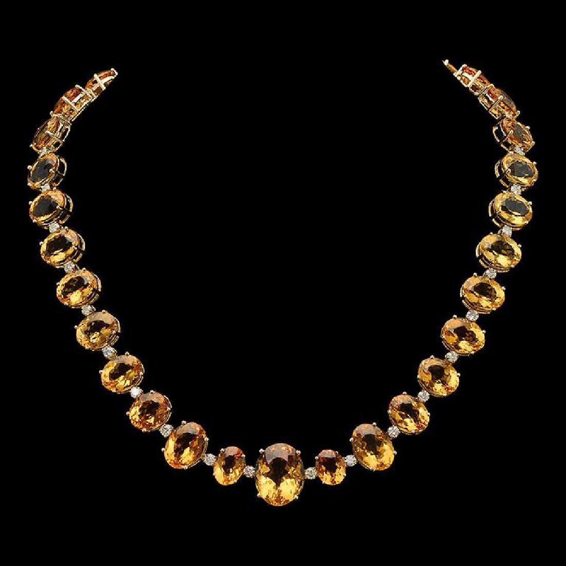 14K Gold 141.39ct Citrine 4.05ct Diamond Necklace