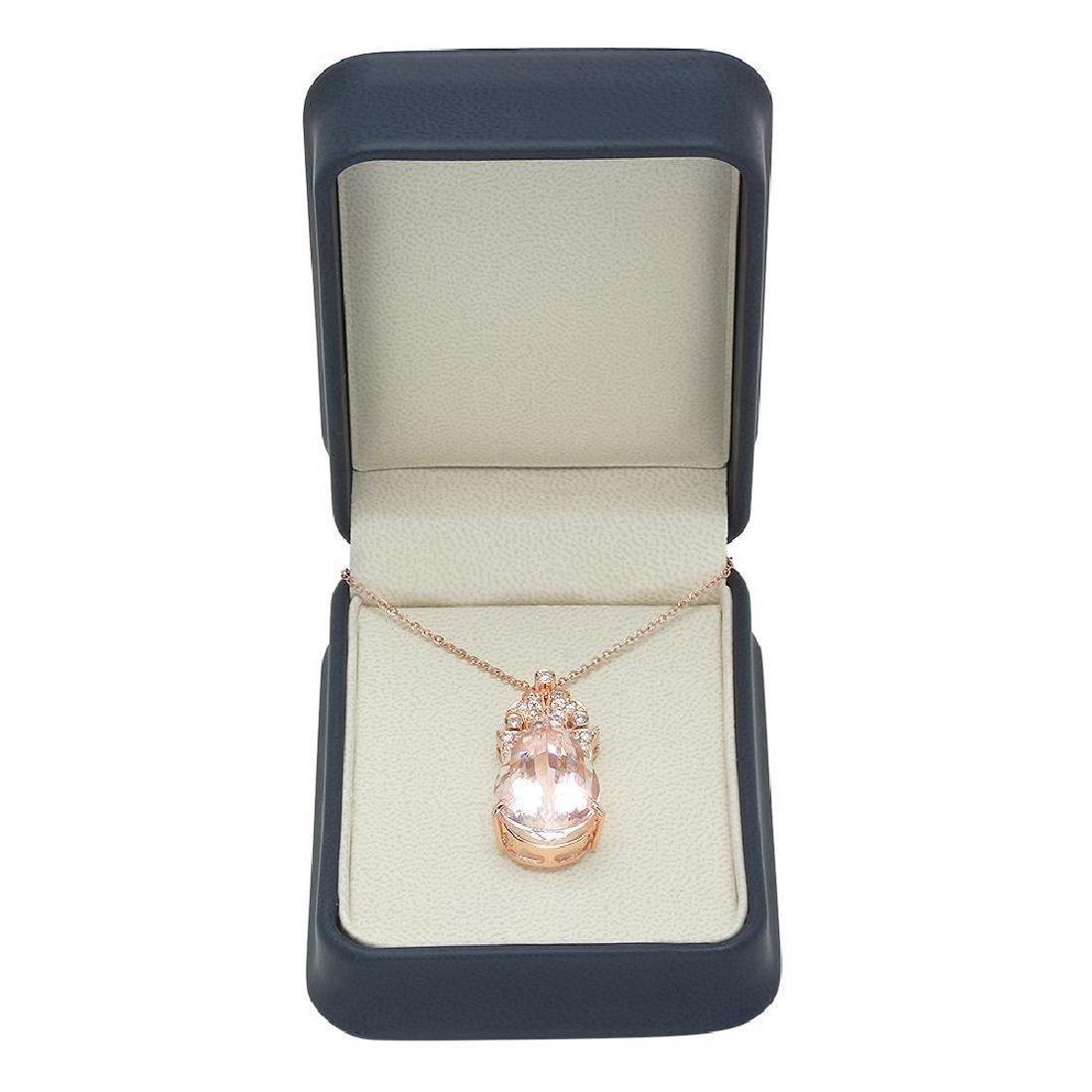 14K Gold 21.98ct Morganite 0.81ct Diamond Pendant - 3