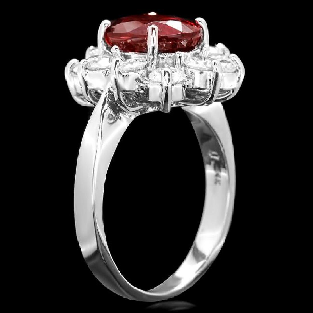 14k White Gold 5.50ct Zircon 1.80ct Diamond Ring - 3