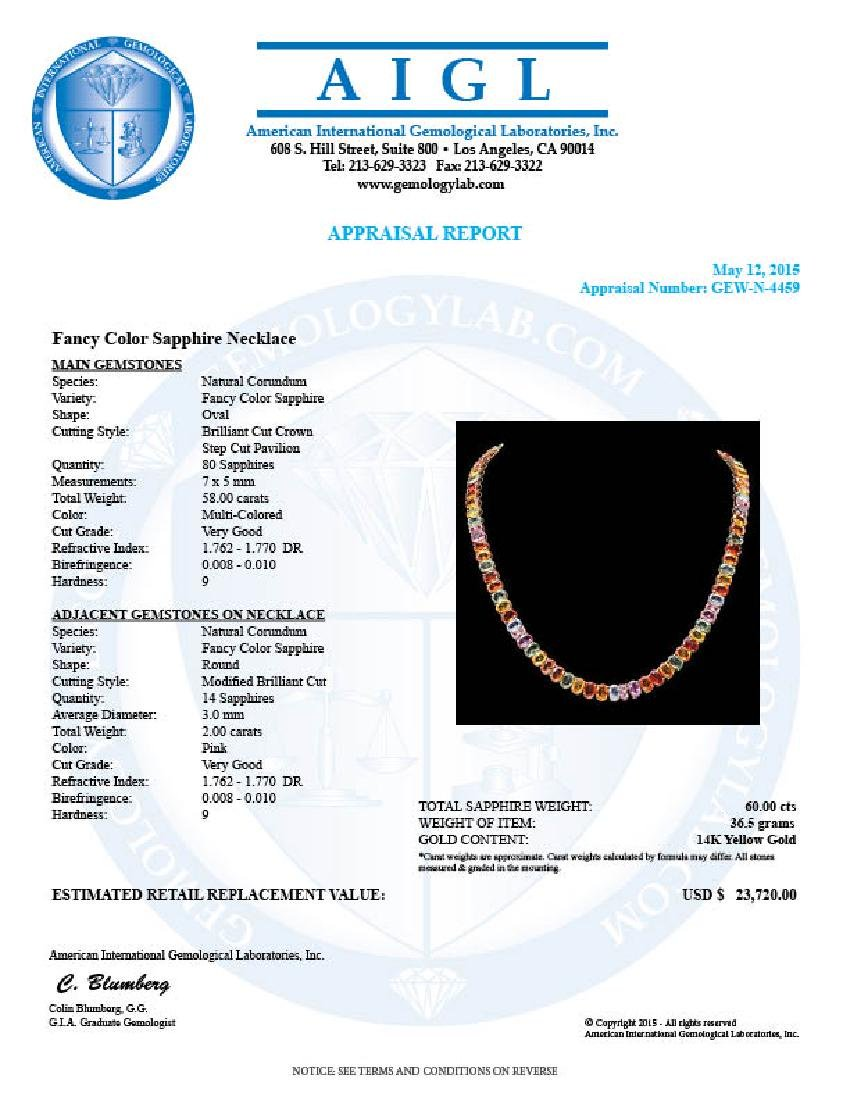 14k Yellow Gold 60ct Sapphire Necklace - 6