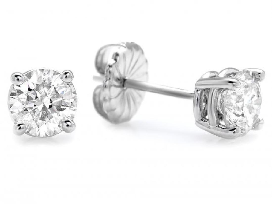 14k White Gold 1.50ct Diamond Earrings - 3