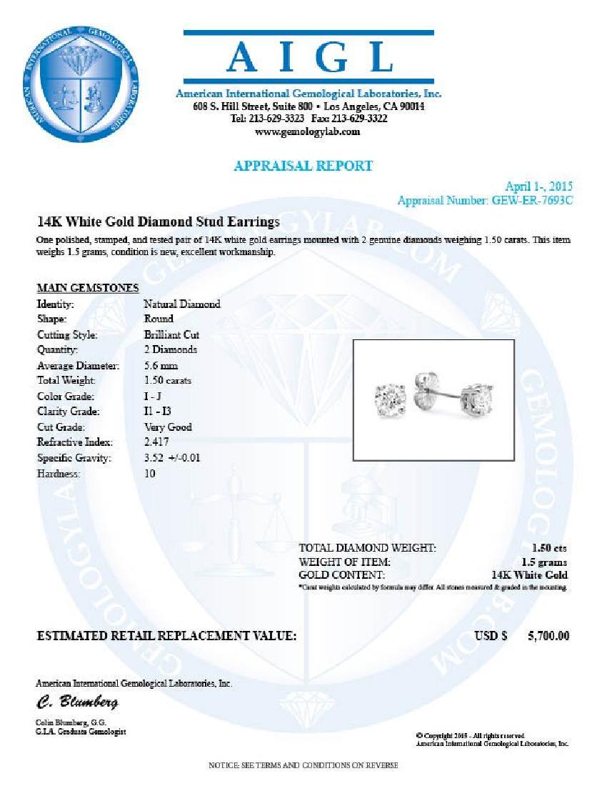 14k White Gold 1.50ct Diamond Earrings - 5