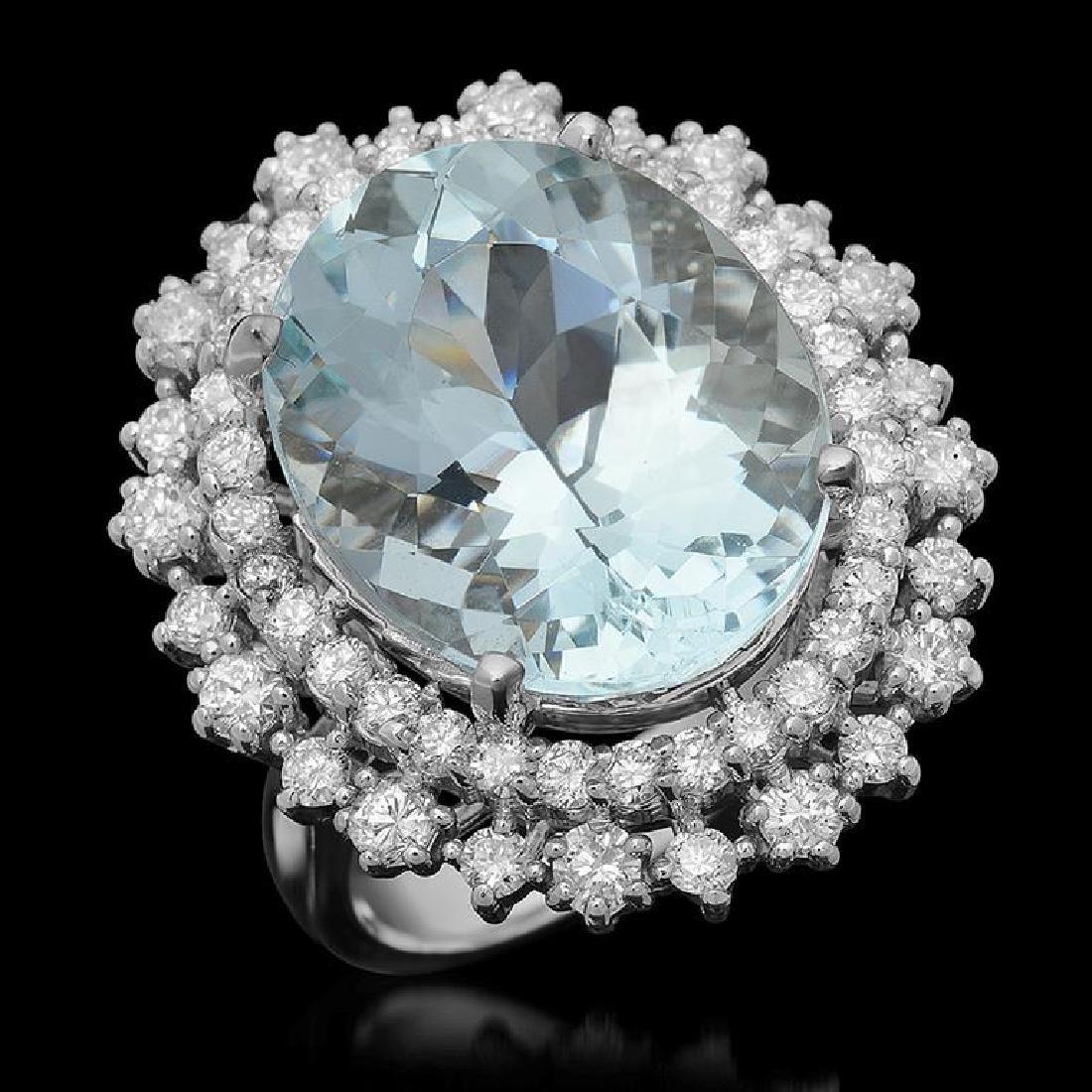 14K Gold 12.15ct Aquamarine 1.75ct Diamond Ring