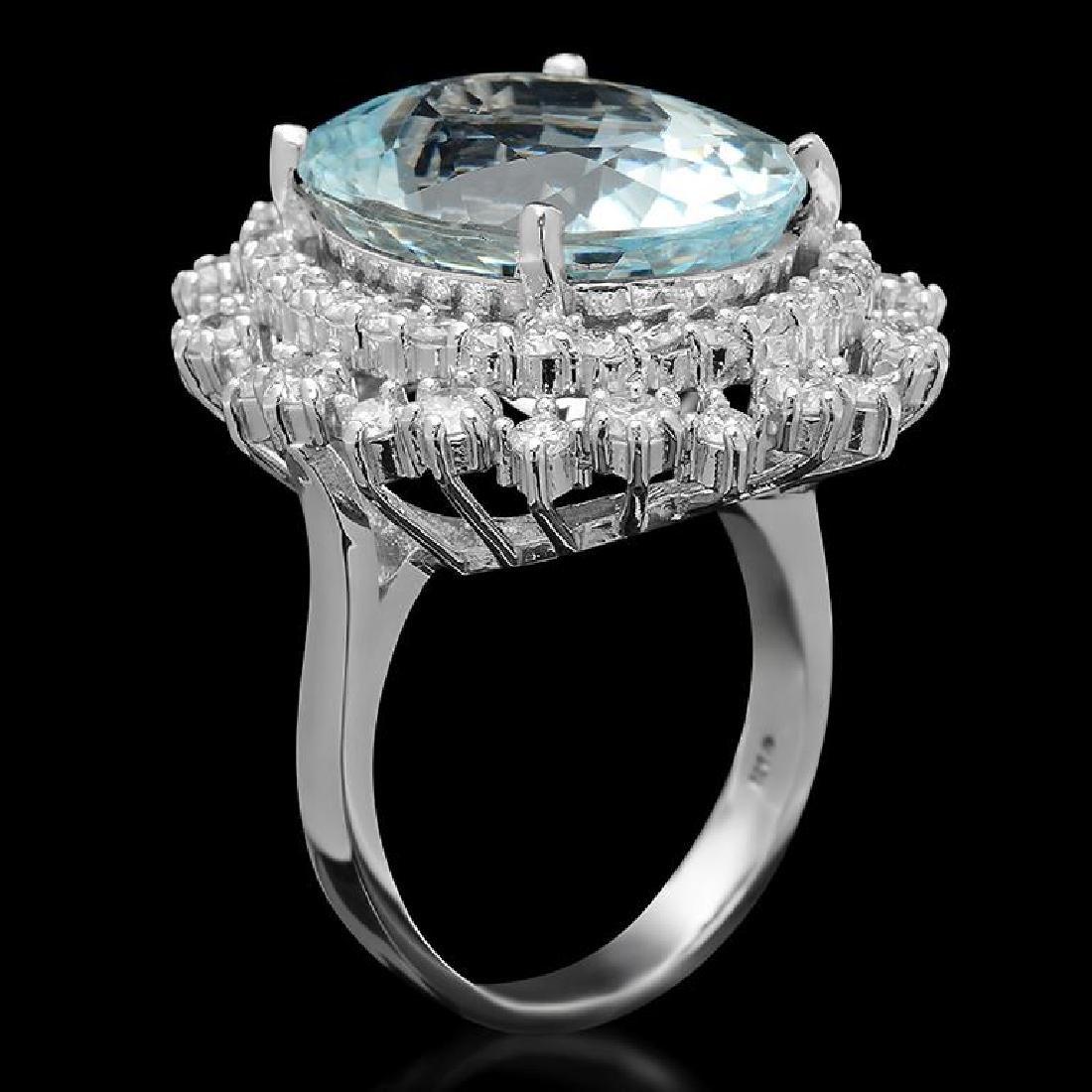 14K Gold 12.15ct Aquamarine 1.75ct Diamond Ring - 2