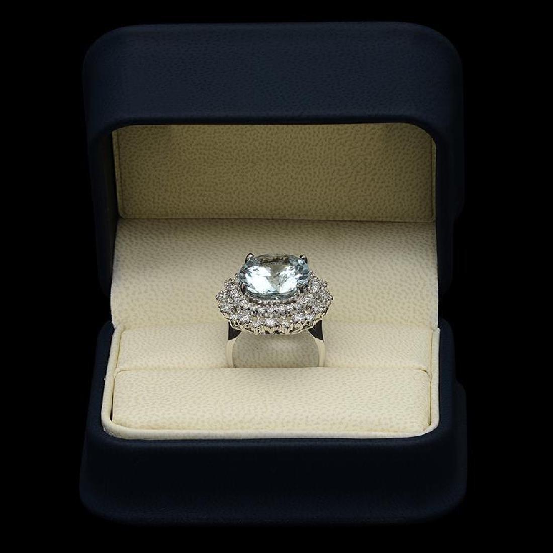 14K Gold 12.15ct Aquamarine 1.75ct Diamond Ring - 3