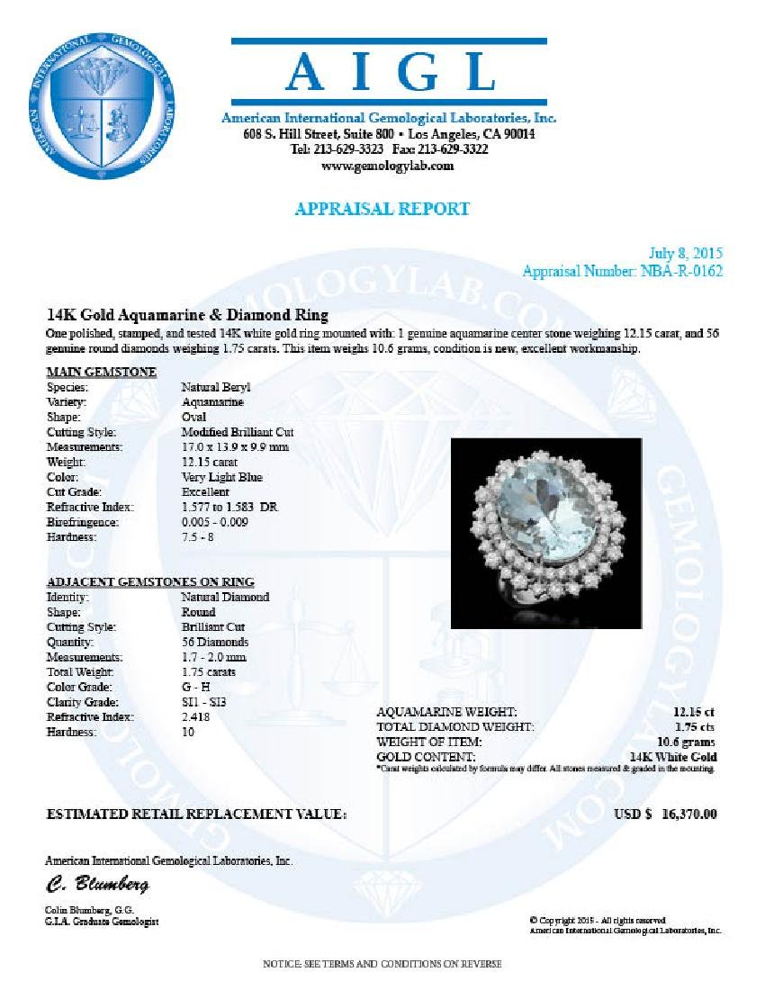 14K Gold 12.15ct Aquamarine 1.75ct Diamond Ring - 4