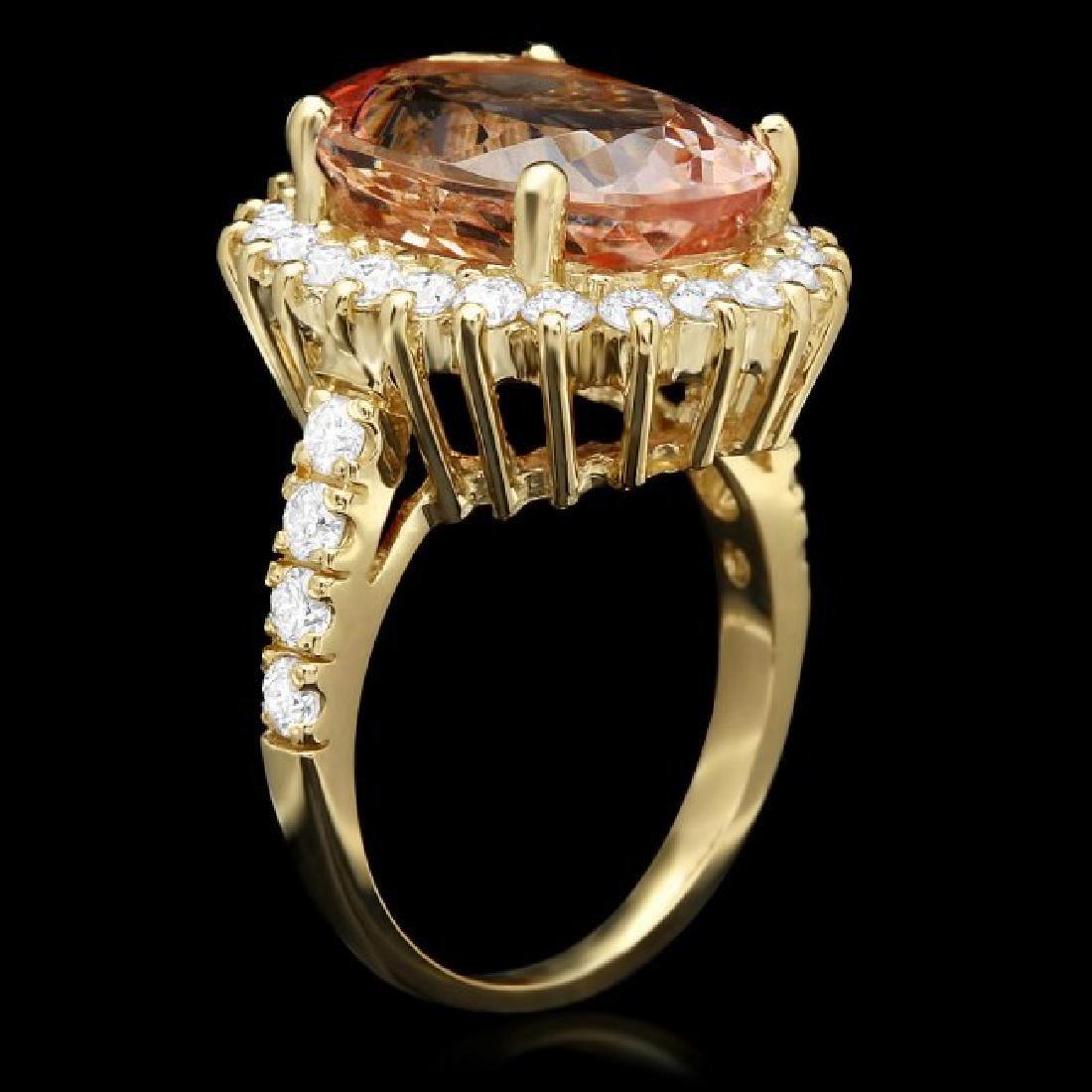 14k Gold 8.00ct Morganite 1.30ct Diamond Ring - 2