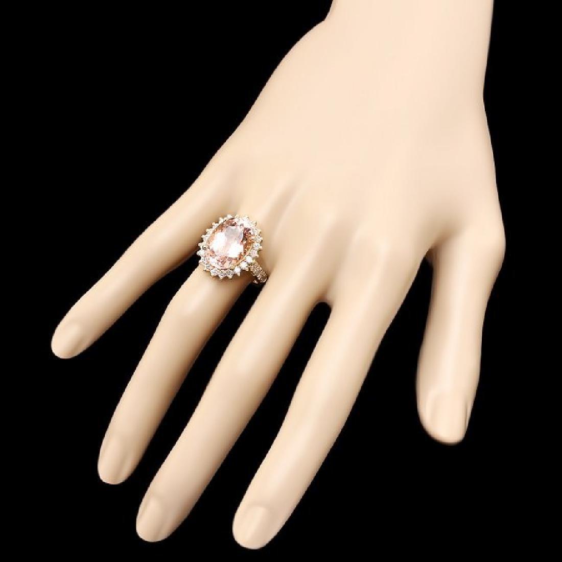 14k Gold 8.00ct Morganite 1.30ct Diamond Ring - 3