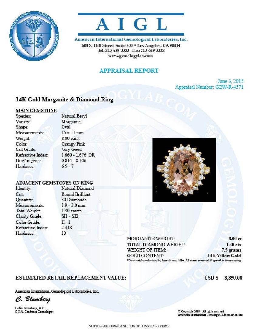 14k Gold 8.00ct Morganite 1.30ct Diamond Ring - 4