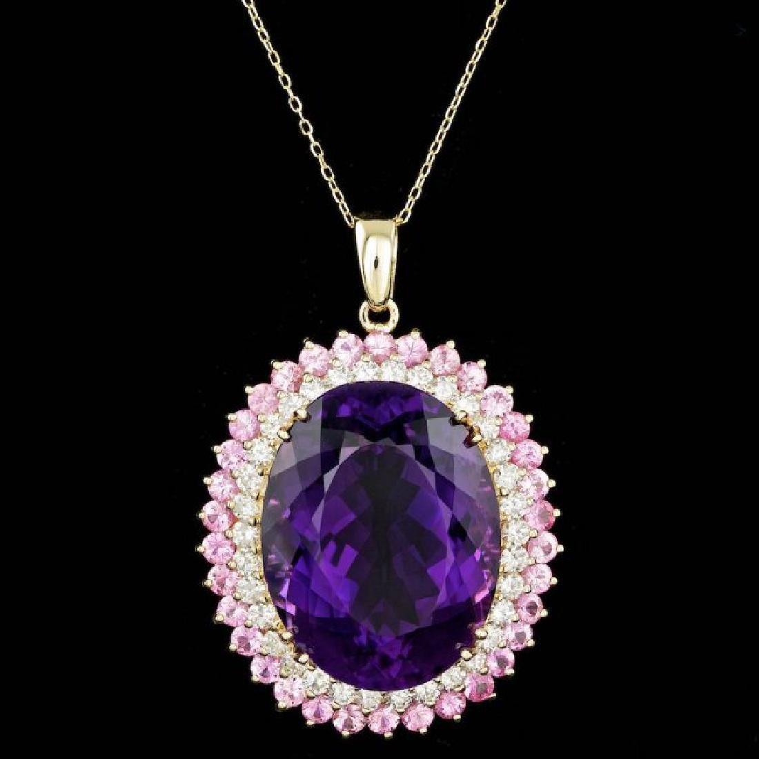 14k Gold 50.00ct Amethyst 2.50ct Diamond Pendant