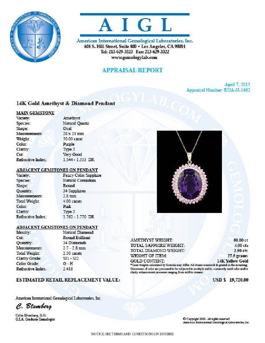 14k Gold 50.00ct Amethyst 2.50ct Diamond Pendant - 5