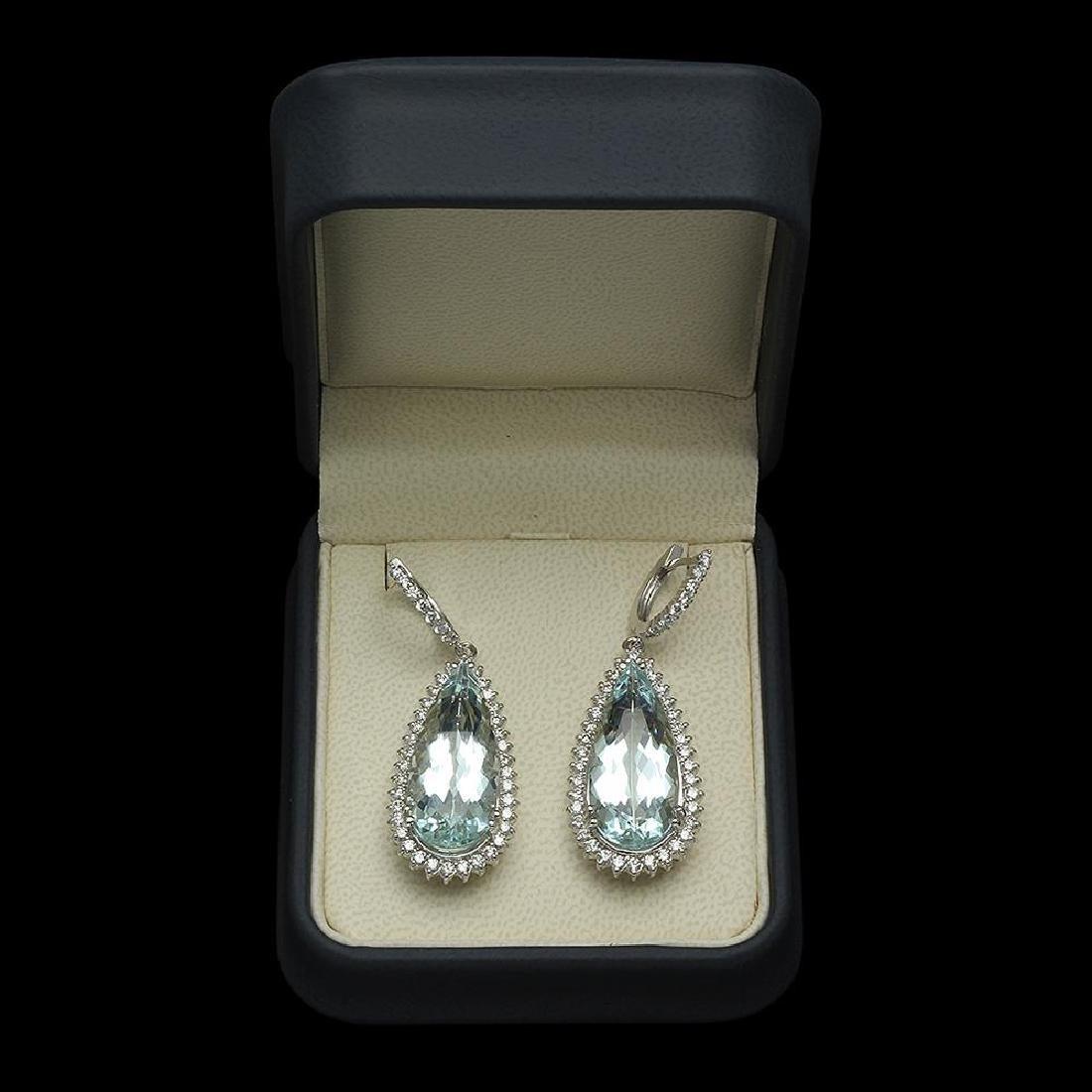 14K Gold 28.67ct Aquamarine 2.41ct Diamond Earrings - 2