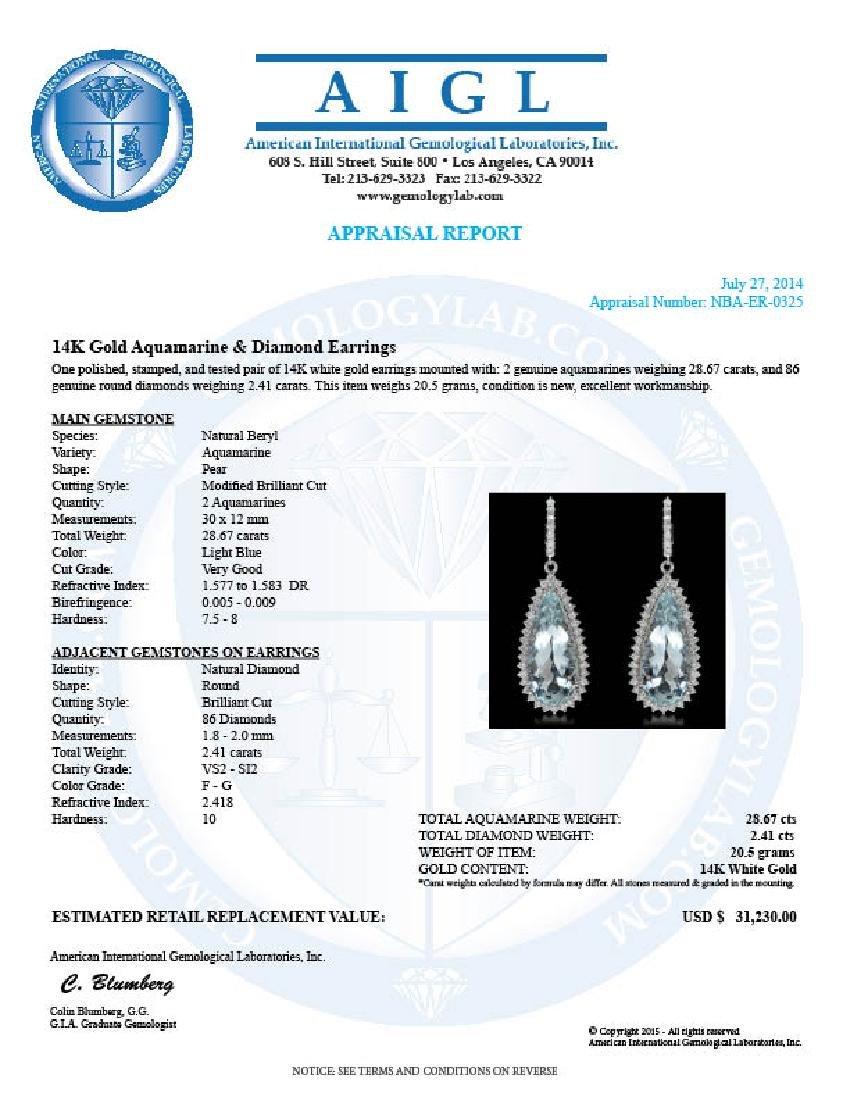 14K Gold 28.67ct Aquamarine 2.41ct Diamond Earrings - 3