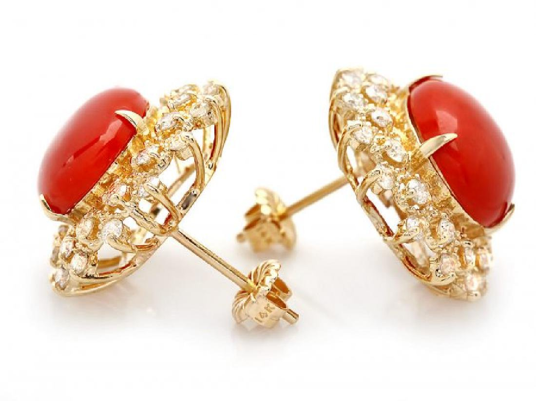 14k Gold 8.00ct Coral 1.50ct Diamond Earrings - 2