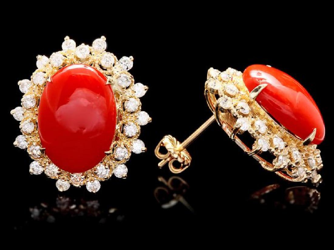 14k Gold 8.00ct Coral 1.50ct Diamond Earrings - 3