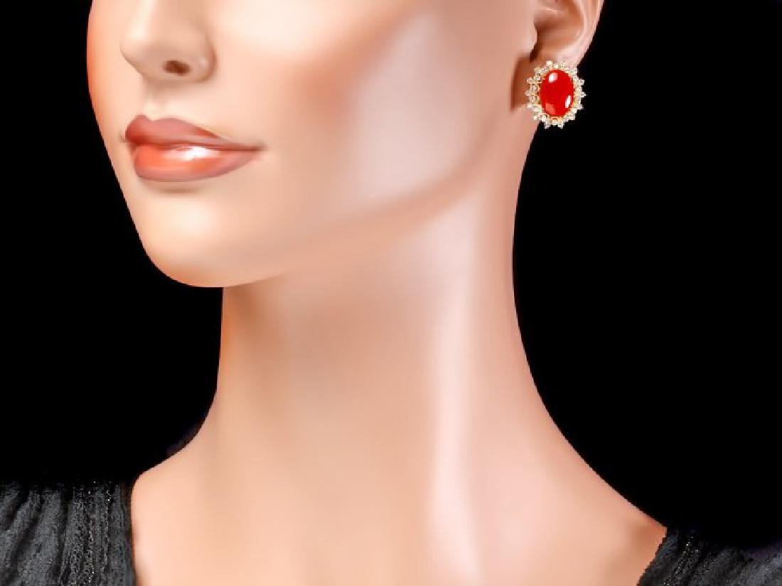 14k Gold 8.00ct Coral 1.50ct Diamond Earrings - 4
