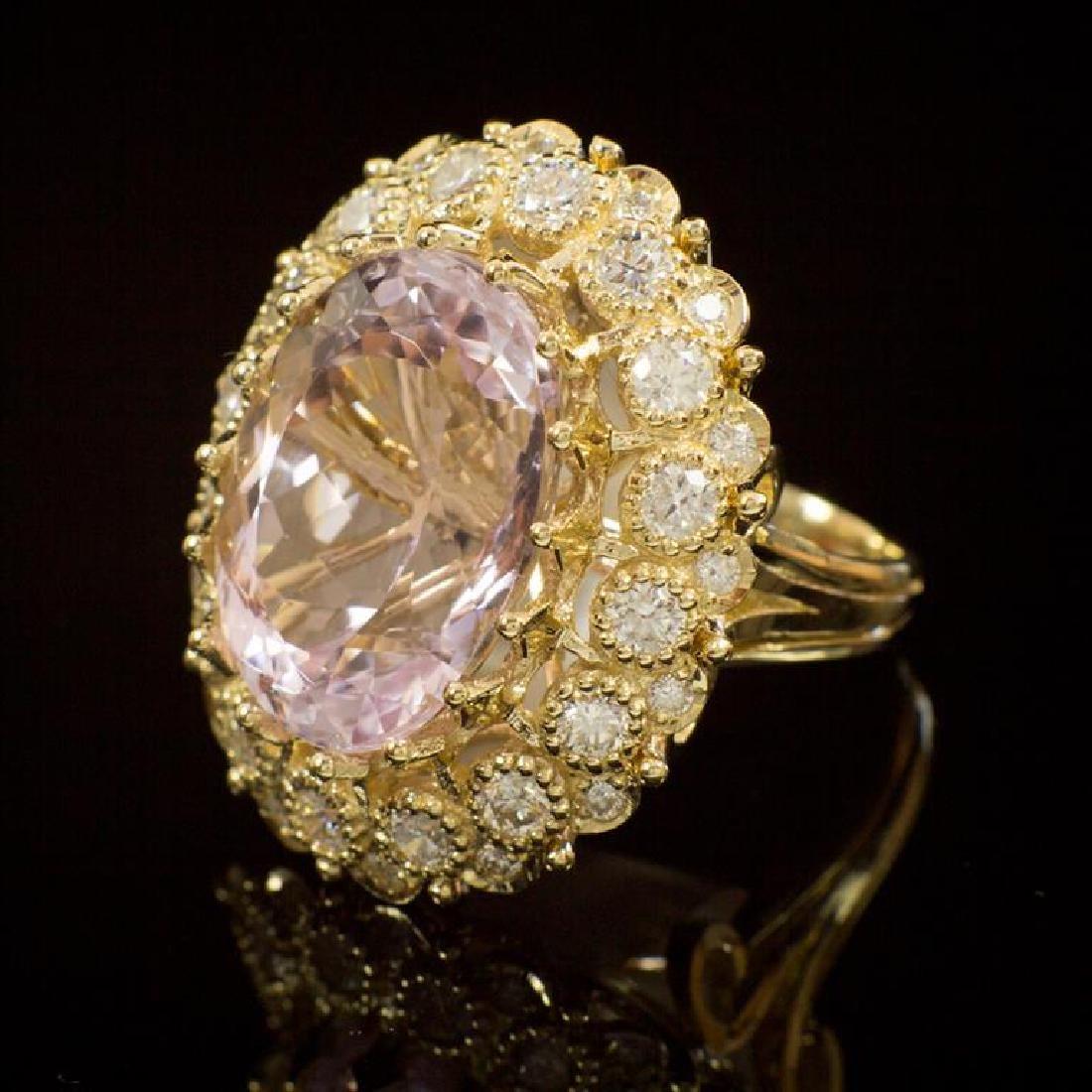 14K Gold 22.06ct Kunzite 2.47ct Diamond Ring - 2