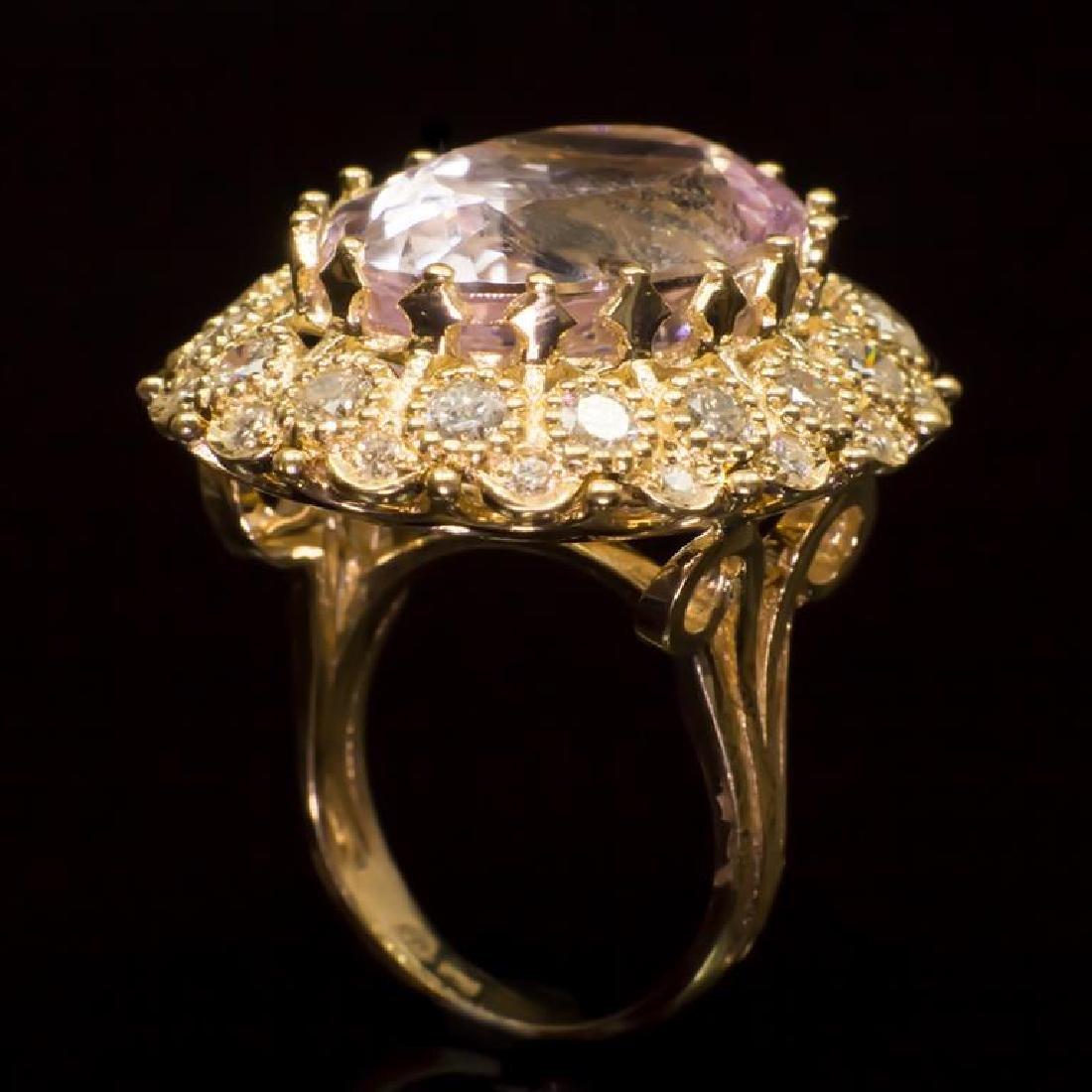 14K Gold 22.06ct Kunzite 2.47ct Diamond Ring - 3