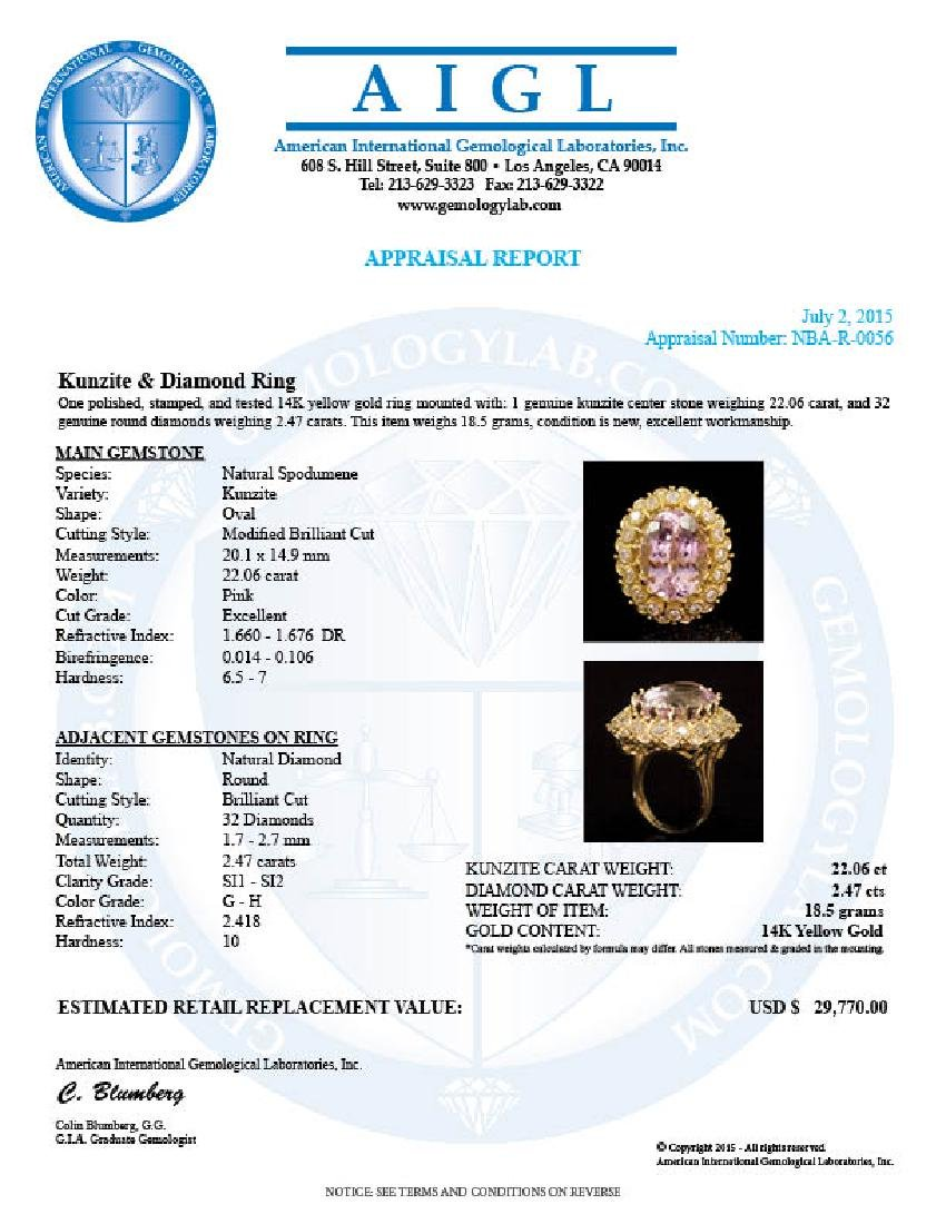 14K Gold 22.06ct Kunzite 2.47ct Diamond Ring - 4