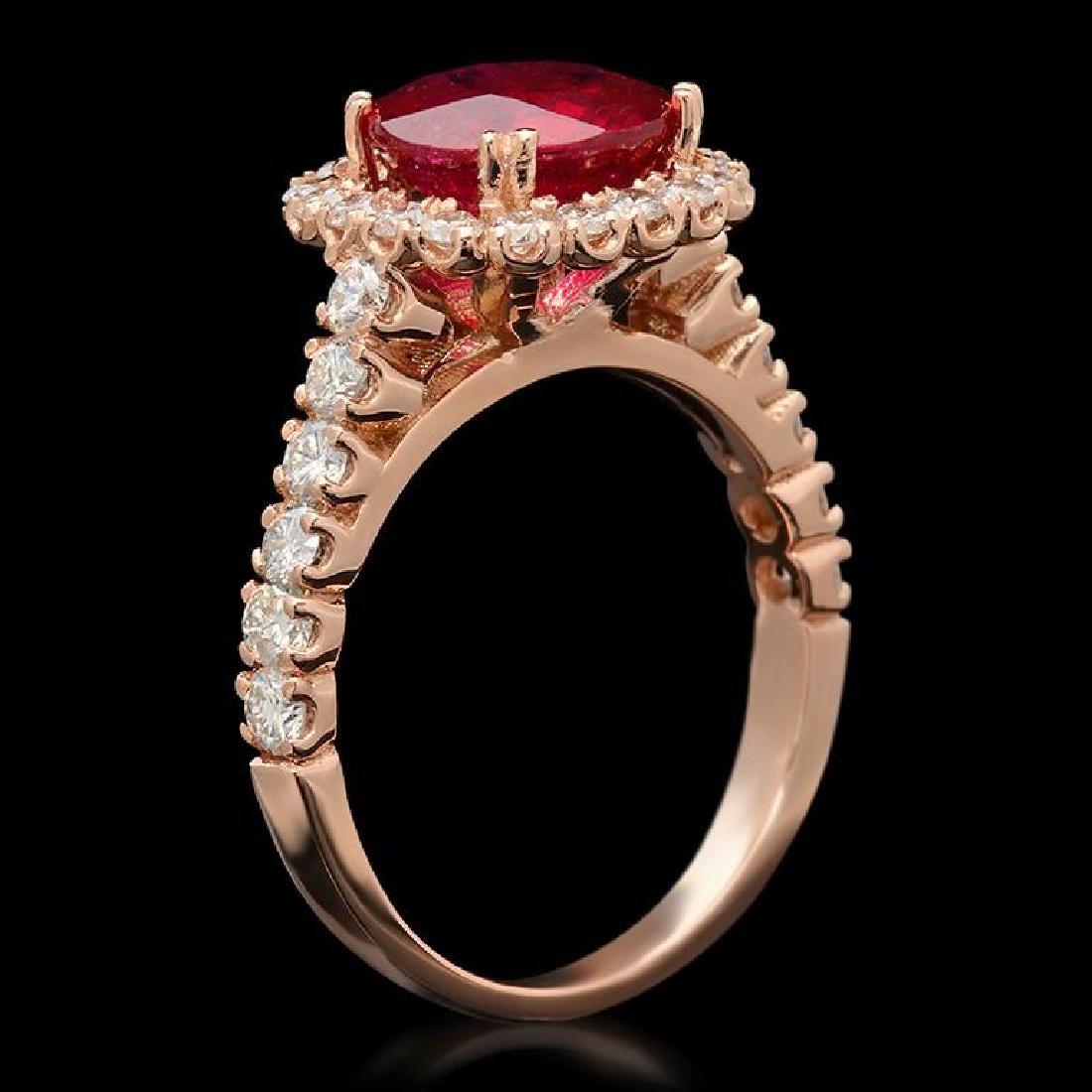 14K Gold 3.28ct Ruby 1.26ct Diamond Ring - 2