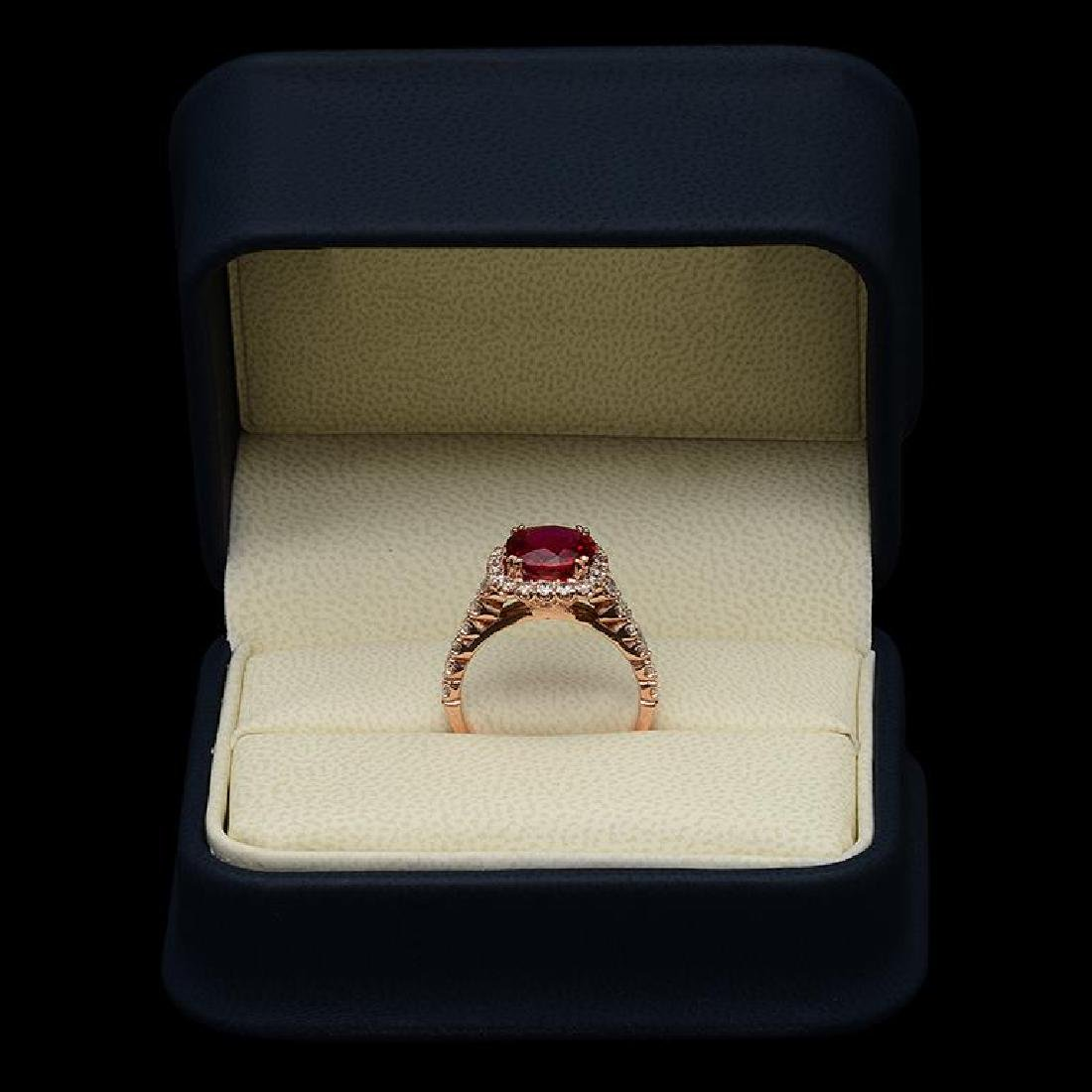 14K Gold 3.28ct Ruby 1.26ct Diamond Ring - 3