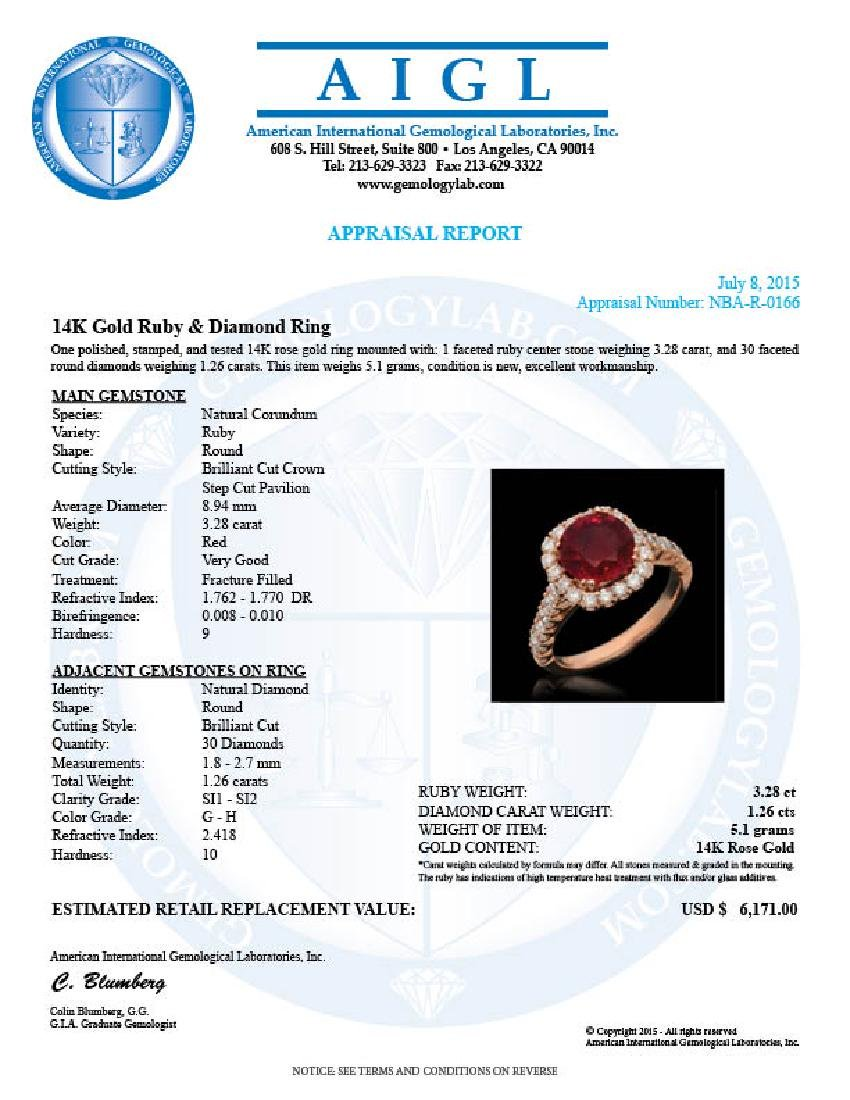 14K Gold 3.28ct Ruby 1.26ct Diamond Ring - 4