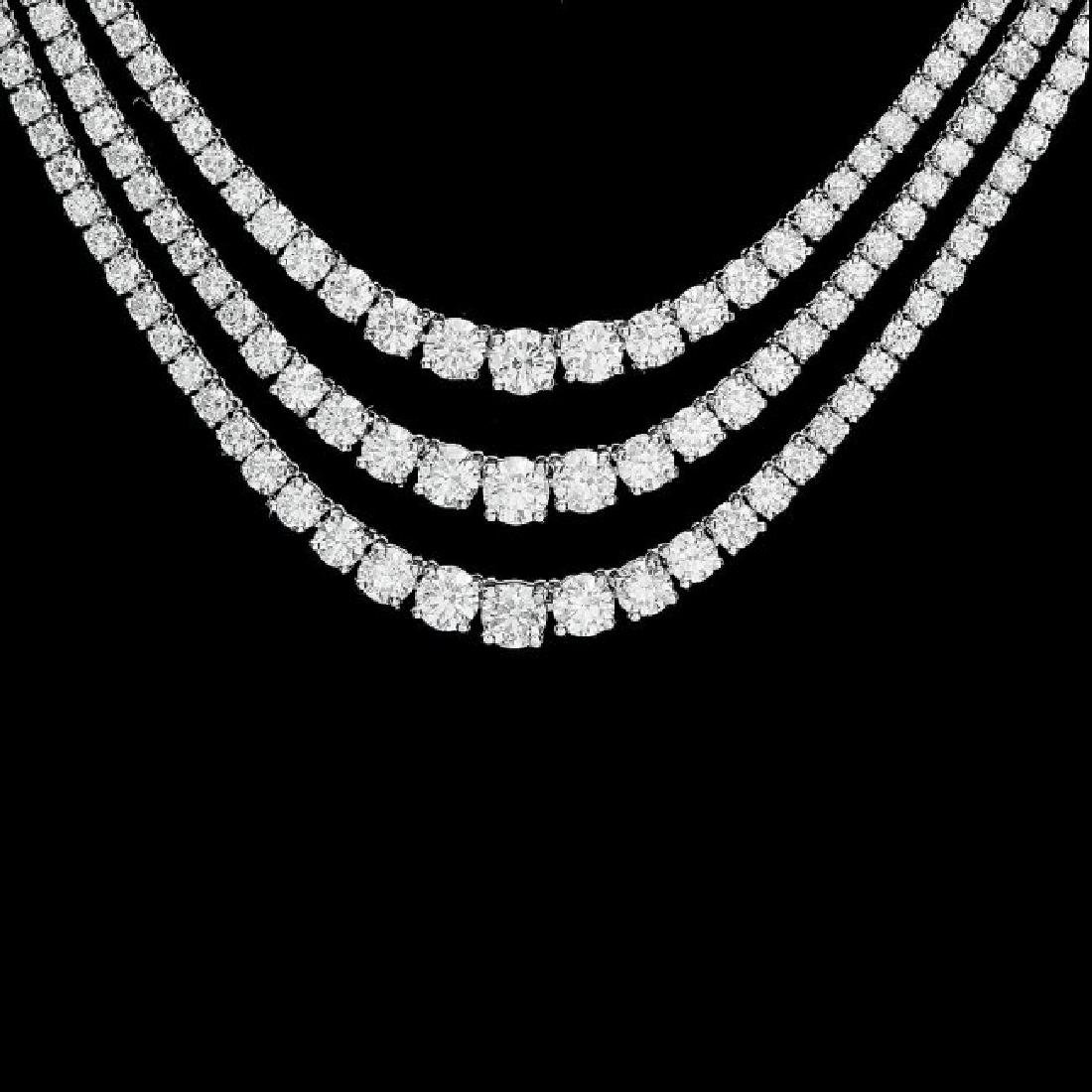 18k White Gold 12.90ct Diamond Necklace - 2