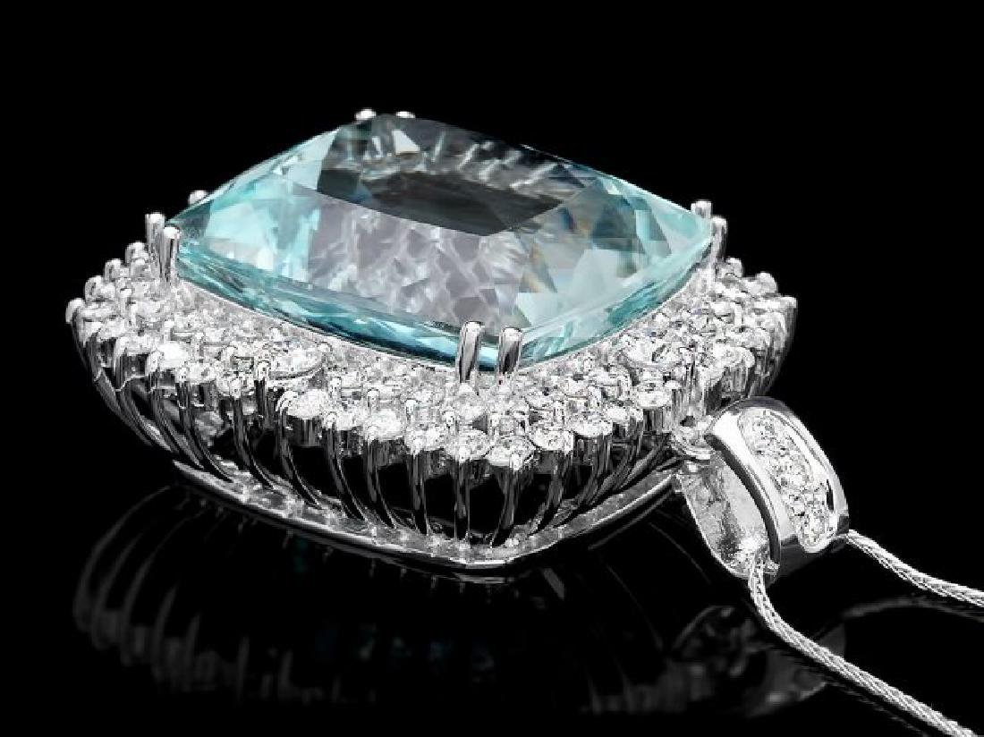 14k 38.00ct Aquamarine 3.55ct Diamond Pendant - 2