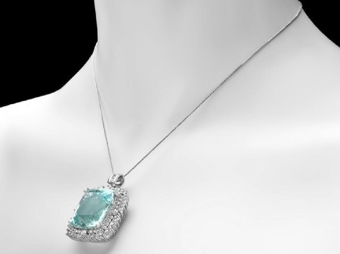 14k 38.00ct Aquamarine 3.55ct Diamond Pendant - 3