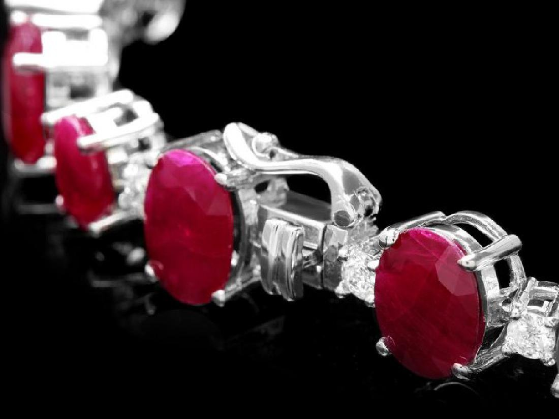 14k Gold 40.00ct Ruby 1.50ct Diamond Bracelet - 3