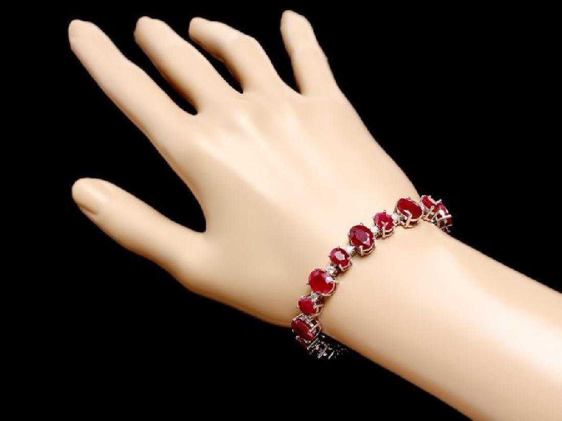 14k Gold 40.00ct Ruby 1.50ct Diamond Bracelet - 5