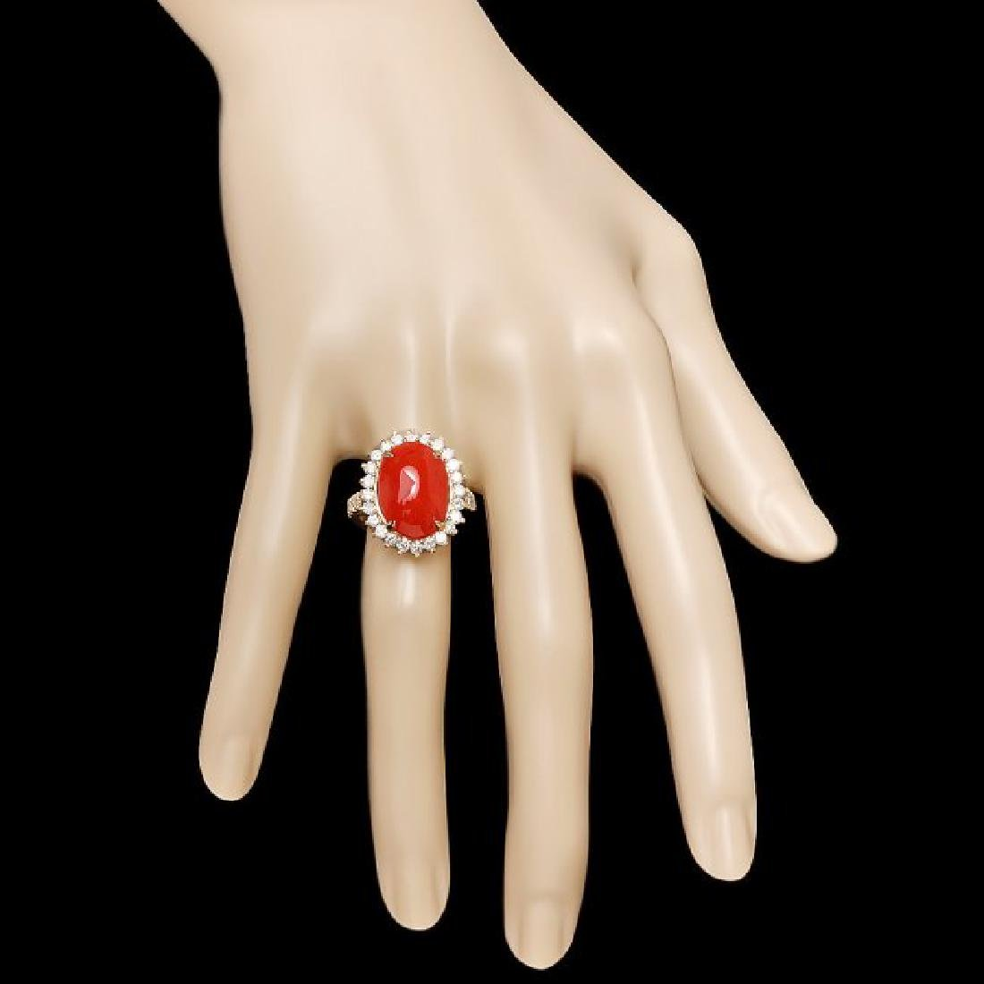 14k Yellow Gold 5.00ct Coral 1.35ct Diamond Ring - 3
