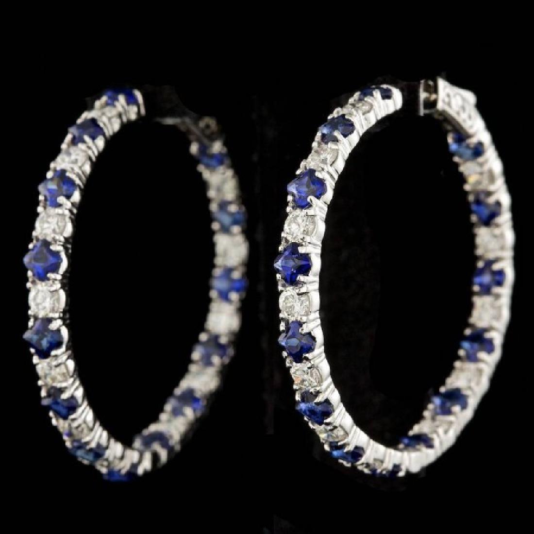 14k Gold 6.00ct Sapphire 3.20ct Diamond Earrings