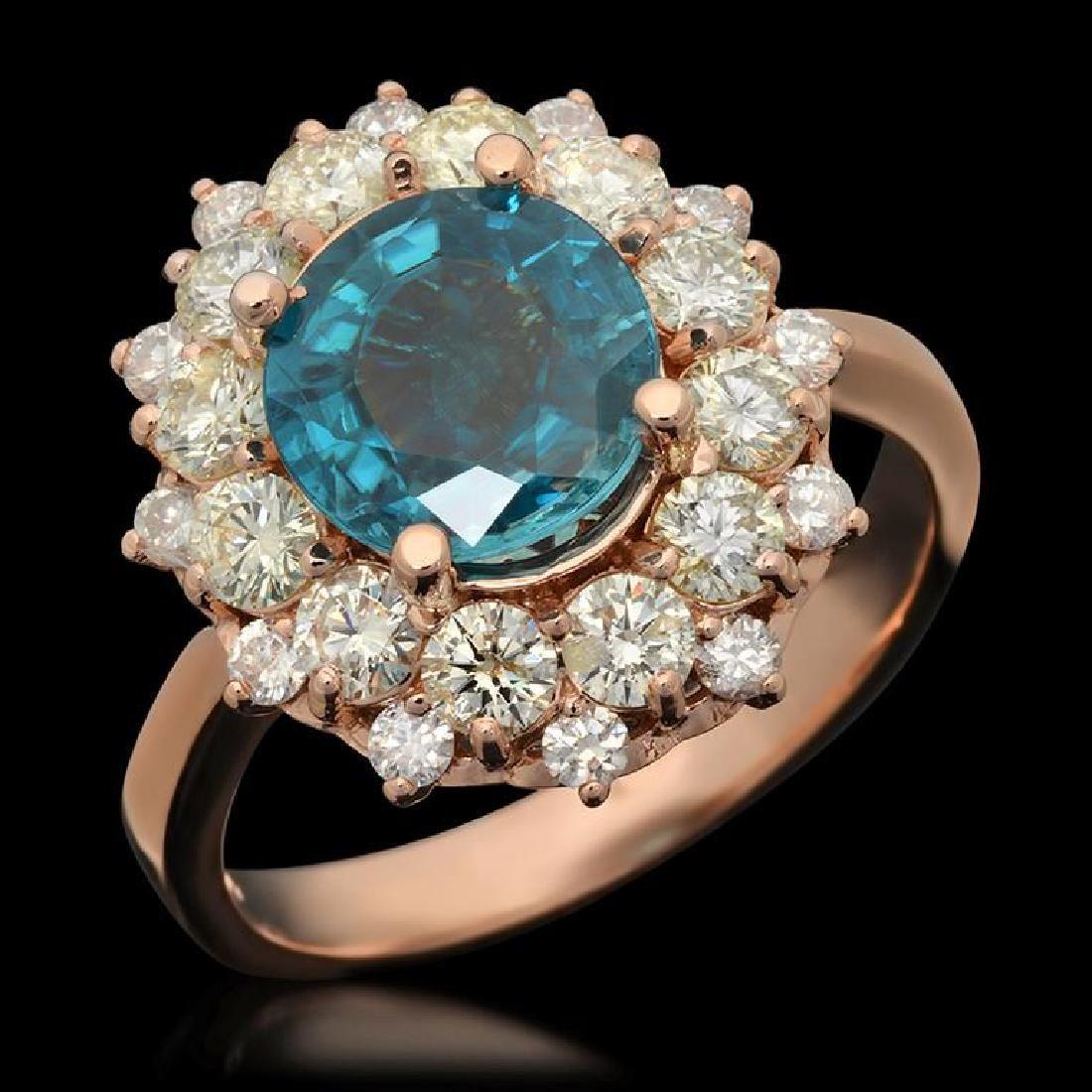14k Gold 3.07ct Zircon & 1.51ct Diamond Ring
