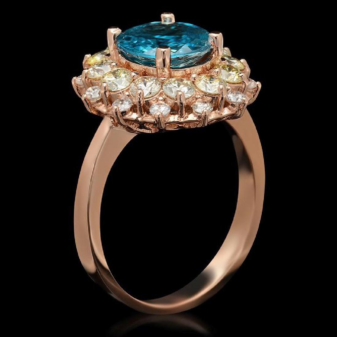 14k Gold 3.07ct Zircon & 1.51ct Diamond Ring - 2
