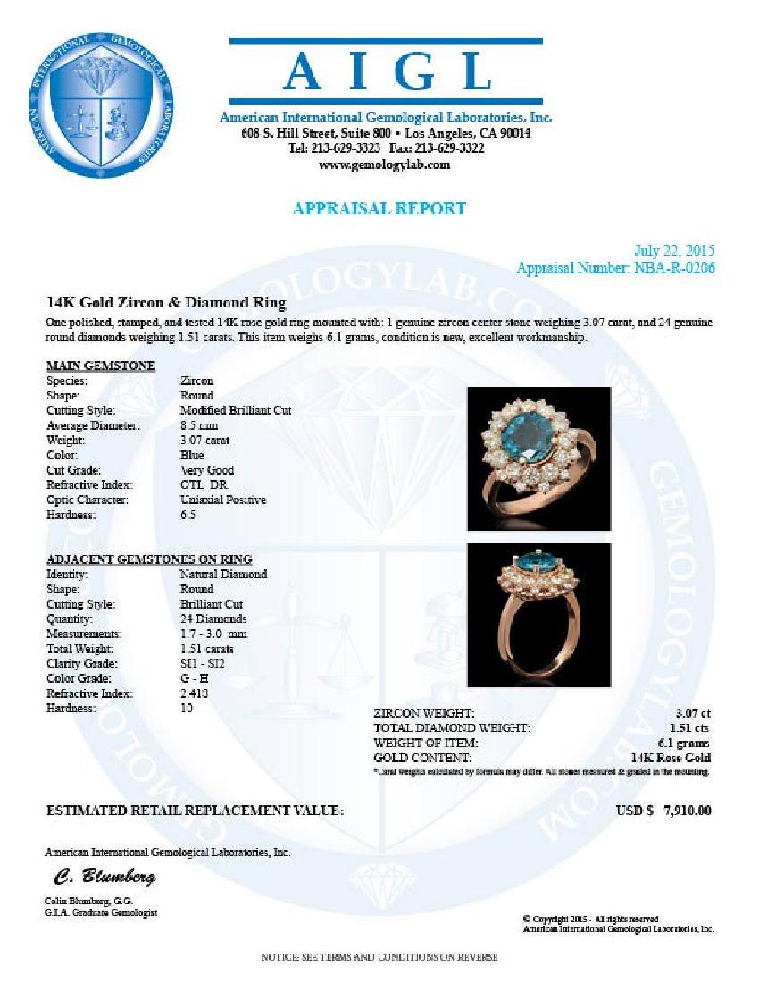 14k Gold 3.07ct Zircon & 1.51ct Diamond Ring - 4