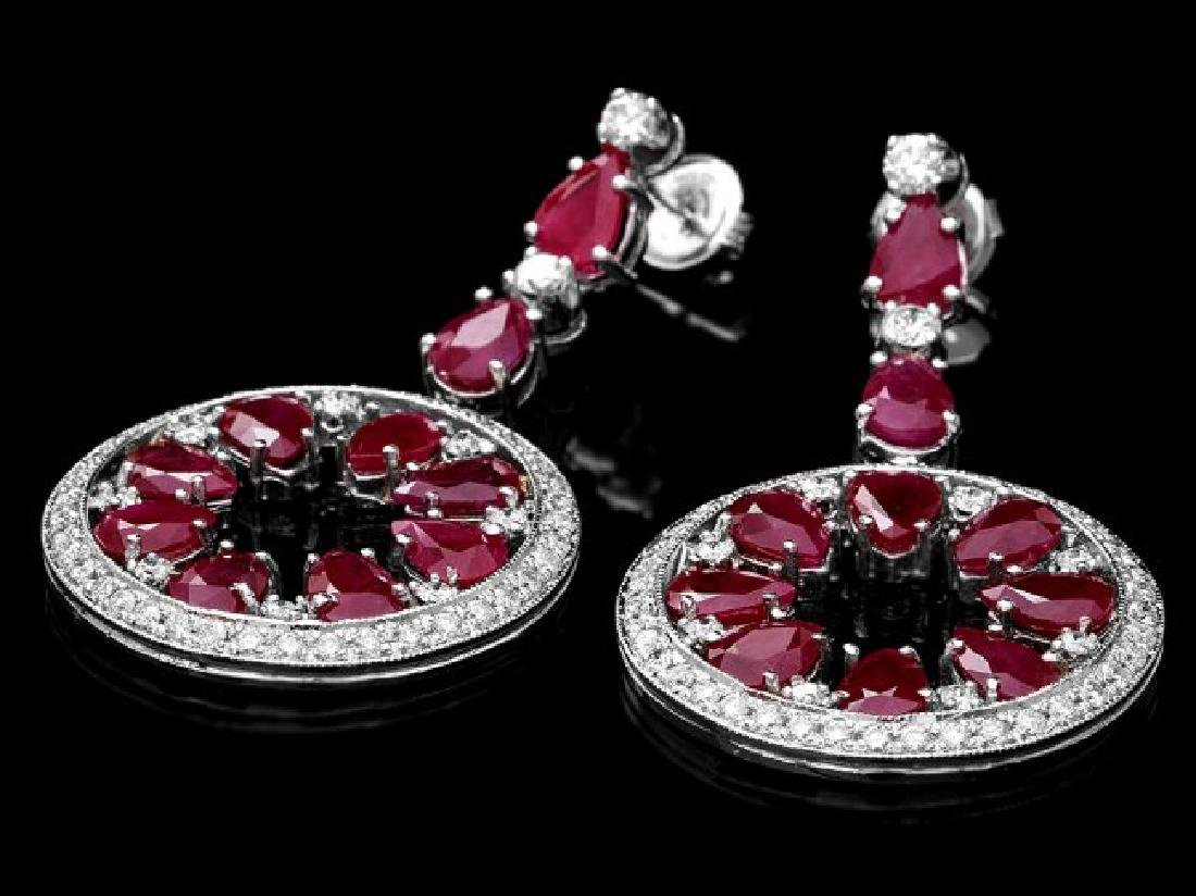 14k Gold 18.50ct Ruby 1.60ct Diamond Earrings